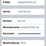 """Die bisher eingegebenen Daten werden überprüft, danach wird noch der """"Servername"""": z.B. mail.hkn.de abgefragt. Und """"Weiter""""."""