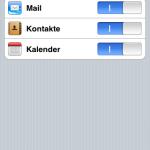 """un können Sie auswählen, welche Daten synchronisiert werden sollen: E-Mails und/oder Kontakte und/oder Termine. Wählen Sie aus, was Sie benötigen und """"Sichern"""" danach. Nun stehen Ihnen alle gewählten Elemente in Ihrer gewohnten iPhone-Umgebung zur Verfügung."""