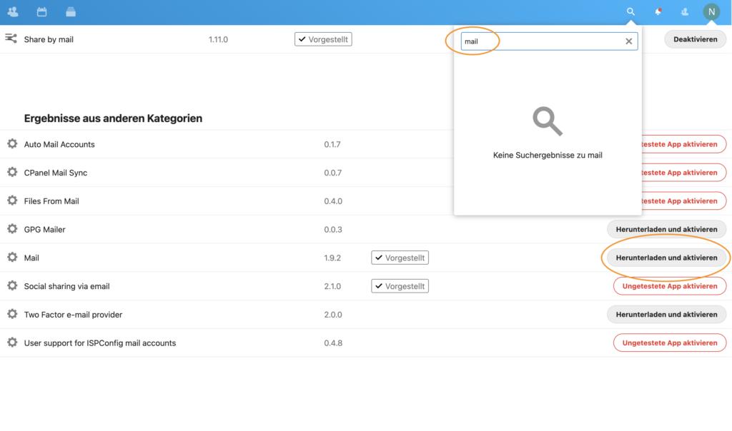 Nextcloud Mail App aktivieren